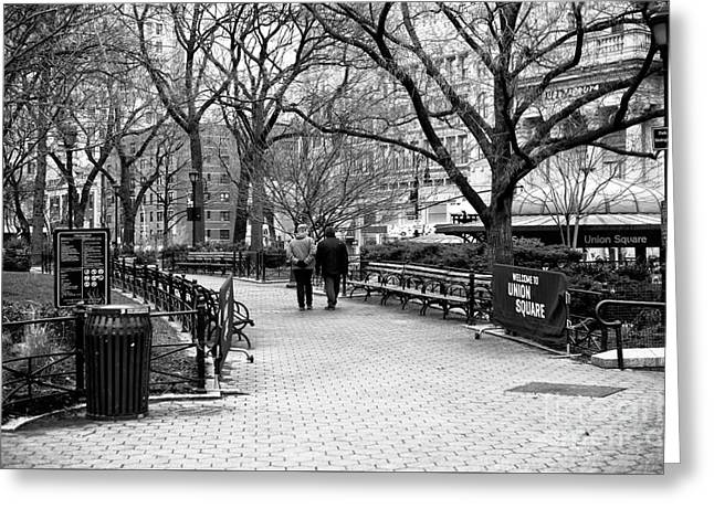 Welcome To Union Square Greeting Card by John Rizzuto