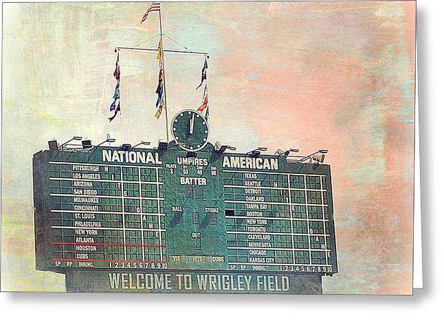 Baseball Stadiums Greeting Cards - Welcome To Wrigley Field Greeting Card by Toni Abdnour