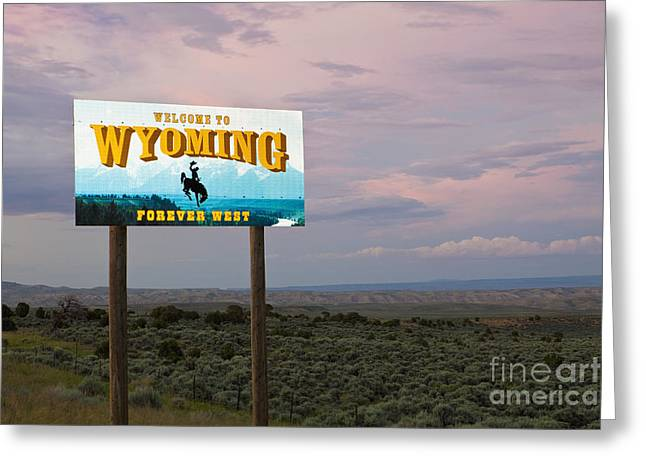 Boarder Greeting Cards - Welcome to Wyoming Sign Greeting Card by Bryan Mullennix