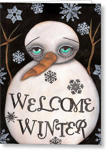 Paiting Greeting Cards - Welcome Winter Greeting Card by  Abril Andrade Griffith