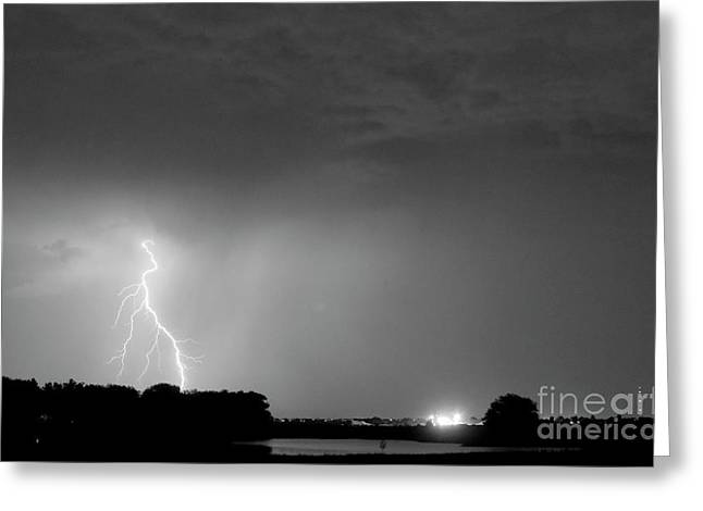 Lightning Bolt Pictures Greeting Cards - Weld County Looking East from County Line CO BW Greeting Card by James BO  Insogna