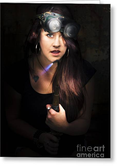 Welder Greeting Card by Jorgo Photography - Wall Art Gallery