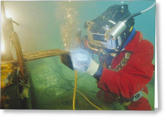 National Commercial Greeting Cards - Welding Underwater Greeting Card by Alexis Rosenfeld