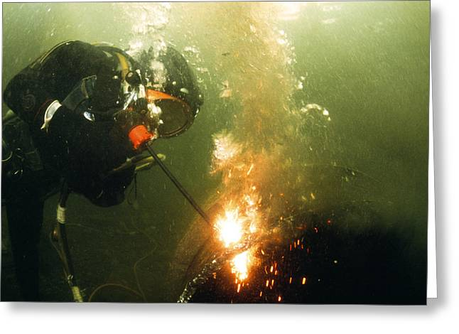 Scuba Diving Greeting Cards - Welding Underwater Greeting Card by Peter Scoones