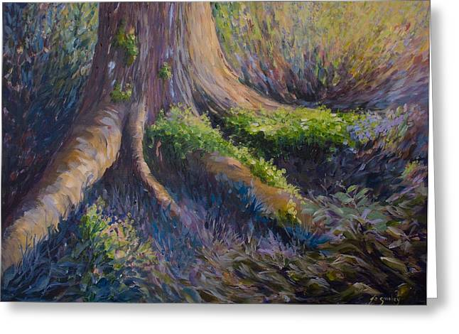 Tree Roots Paintings Greeting Cards - Well Grounded Greeting Card by Joanne Smoley