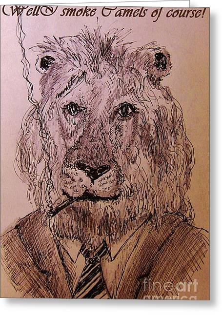 Pen And Ink Drawing Greeting Cards - Well I smoke Camels of course. Greeting Card by John Malone
