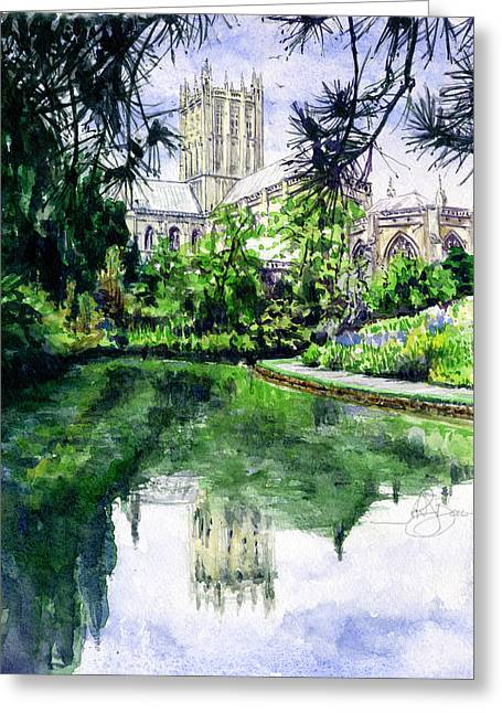 Wells Cathedral Greeting Card by John D Benson