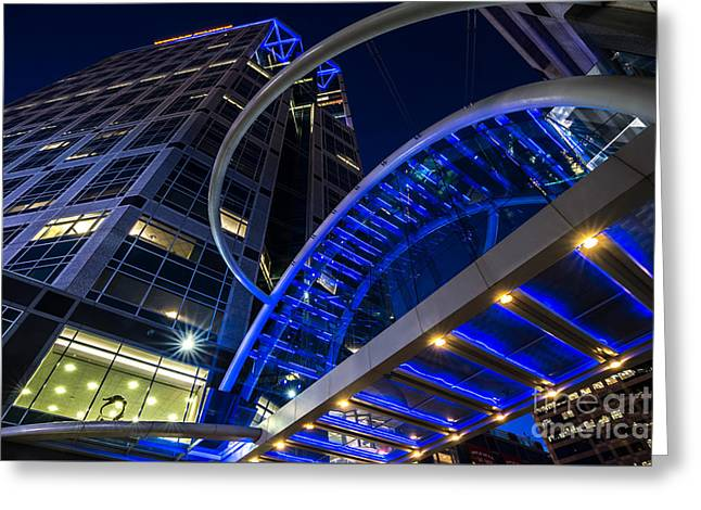 Illuminate Greeting Cards - Wells Fargo Building Sky Bridge at Night Greeting Card by Gary Whitton