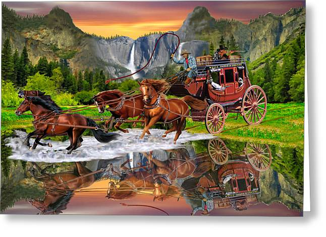 Horse Whip Digital Art Greeting Cards - Wells Fargo Stagecoach Greeting Card by Glenn Holbrook