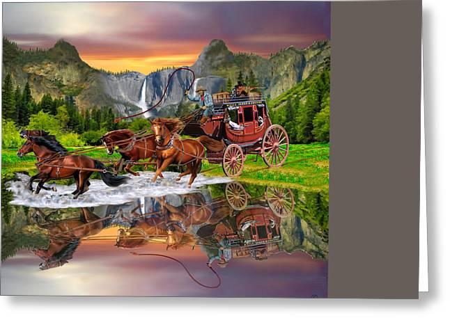 Stream Digital Art Greeting Cards - Wells Fargo Stagecoach Greeting Card by Glenn Holbrook