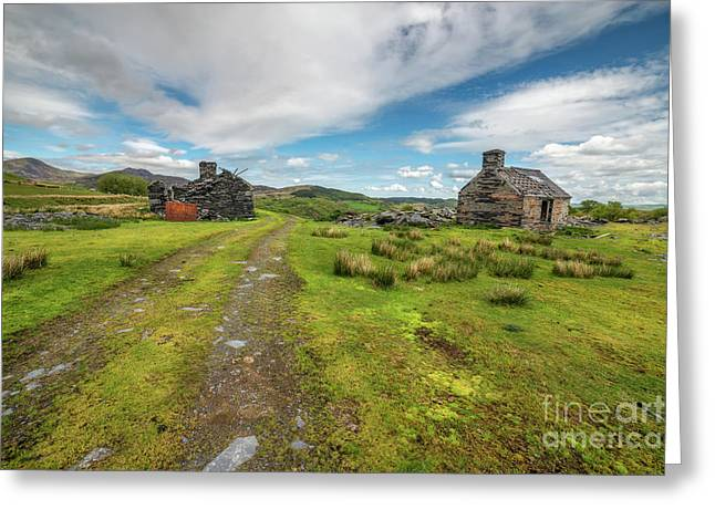 Welsh Cottage Ruins Greeting Card by Adrian Evans