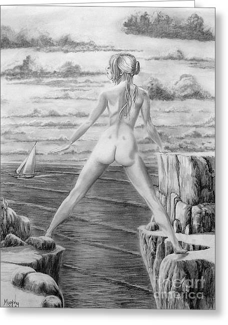 Figure Drawing Greeting Cards - Wendy from memory. Greeting Card by Murphy Elliott
