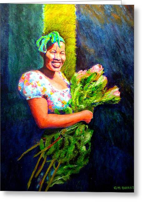 Cape Town Greeting Cards - Wendy the Flower Seller Greeting Card by Michael Durst