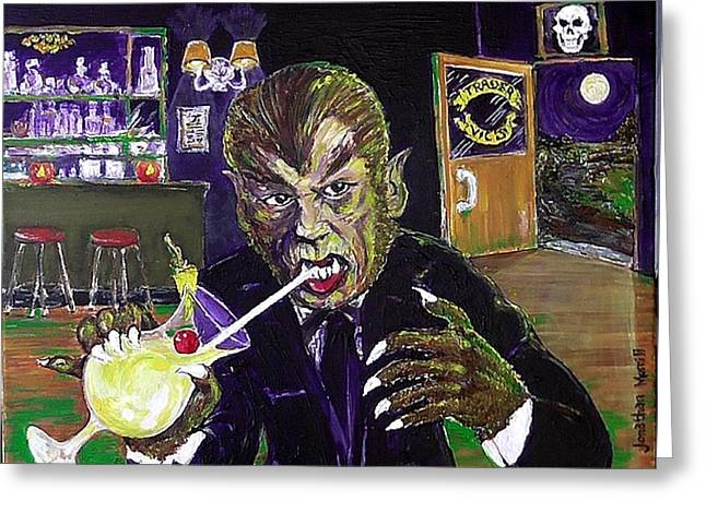 Werewolf Drinking A Pina Colada At Trader Vic's Greeting Card by Jonathan Morrill