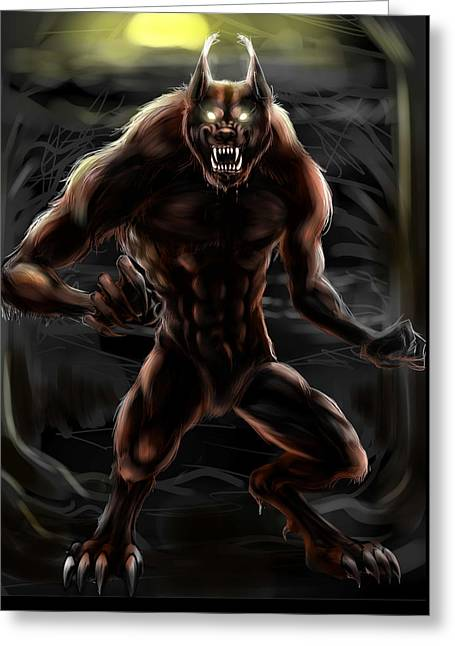 Full Body Drawings Greeting Cards - Werewolf Greeting Card by Nat