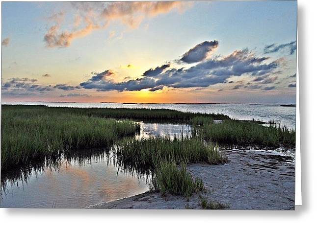 Galveston Greeting Cards - West Bay Sunset Greeting Card by John Collins