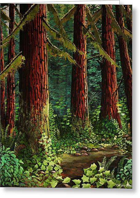 Nature Scene Paintings Greeting Cards - West Coast Forest With Ivy Greeting Card by Claire Bone