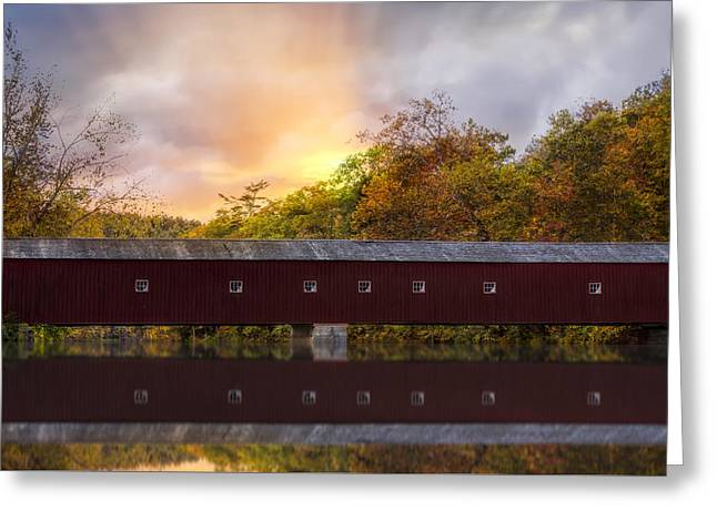West Cornwall Covered Bridge Greeting Card by Susan Candelario