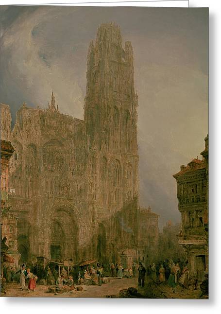 Rouen Greeting Cards - West Front of Notre Dame Greeting Card by David Roberts