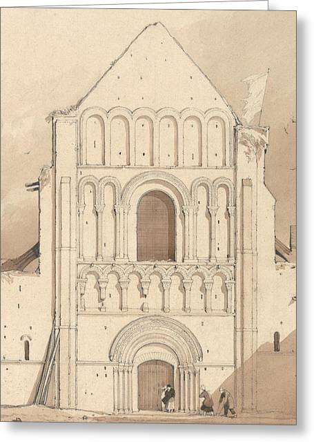 West Front Of The Church Of Oyestraham Greeting Card by John Sell Cotman