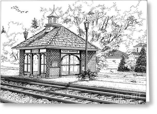 Ink Drawing Greeting Cards - West Hinsdale Train Station Greeting Card by Mary Palmer