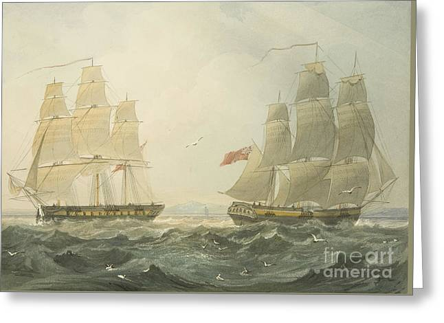 West Indiaman Union And Ann Coming Up The Bristol Channel Greeting Card by Thomas Leeson the Elder Rowbotham