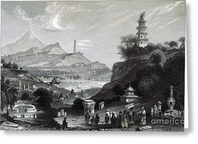 Engraving Greeting Cards - West Lake, Hangzhou, China, 19th Century Greeting Card by British Library