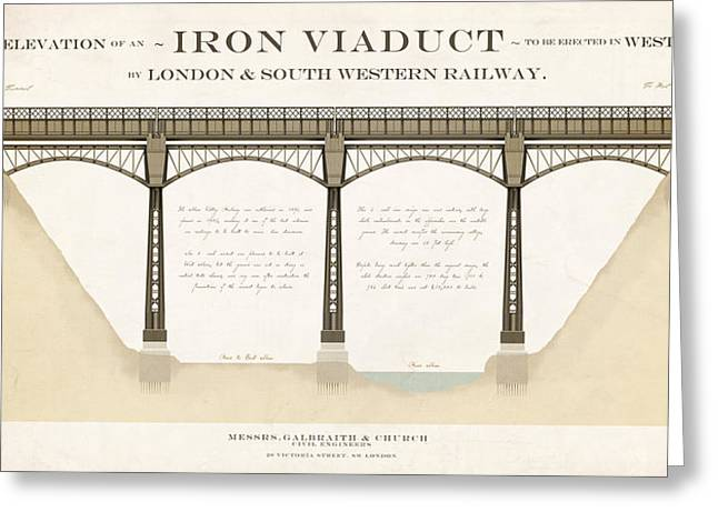 Iron Drawings Greeting Cards - West Meon Viaduct Greeting Card by Justin Fagence