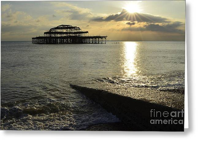 West Pier Brighton Greeting Card by Stephen Smith