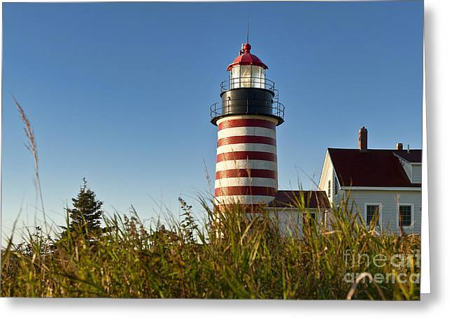 Lubec Greeting Cards - West Quoddy Head Light Greeting Card by John Greim