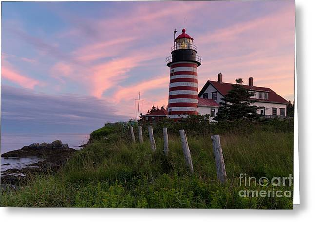 Maine Lighthouses Greeting Cards - West Quoddy Head Light Greeting Card by Joshua Clark