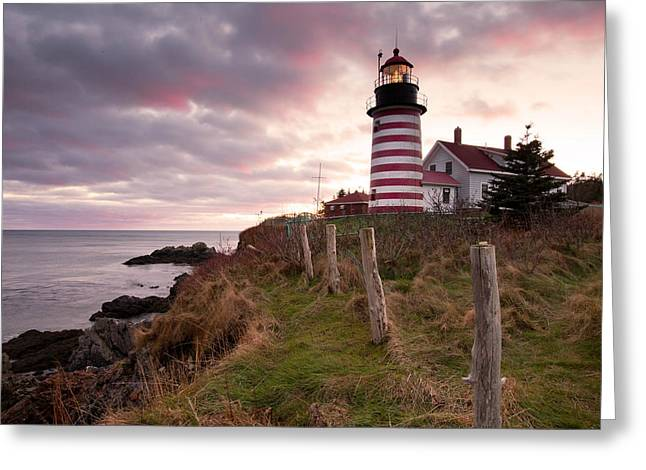 Maine Lighthouses Photographs Greeting Cards - West Quoddy Head Light Greeting Card by Patrick Downey