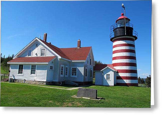 Historic Site Greeting Cards - West Quoddy Head Lighthouse 2 Greeting Card by Cindy Kellogg