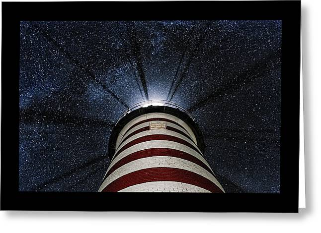 Lubec Greeting Cards - West Quoddy Head Lighthouse Night Light Greeting Card by Marty Saccone
