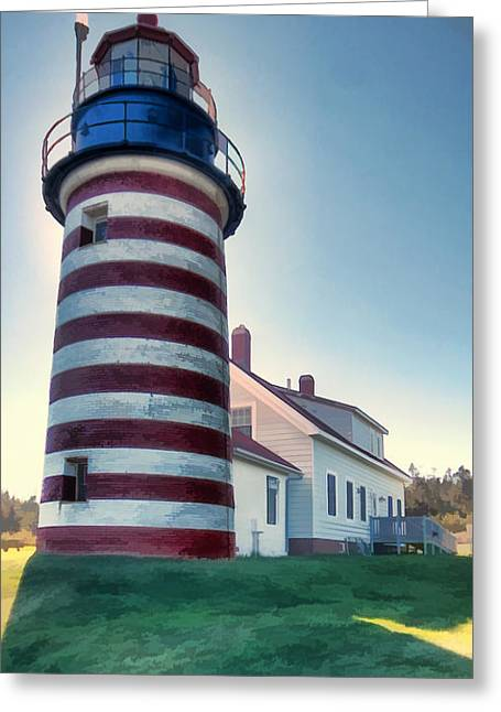 Maine Lighthouses Mixed Media Greeting Cards - West Quoddy light Greeting Card by Jason Bennett
