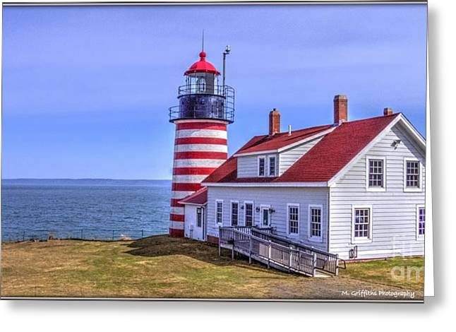 New England Ocean Greeting Cards - West Quoddy Light Greeting Card by Mike Griffiths
