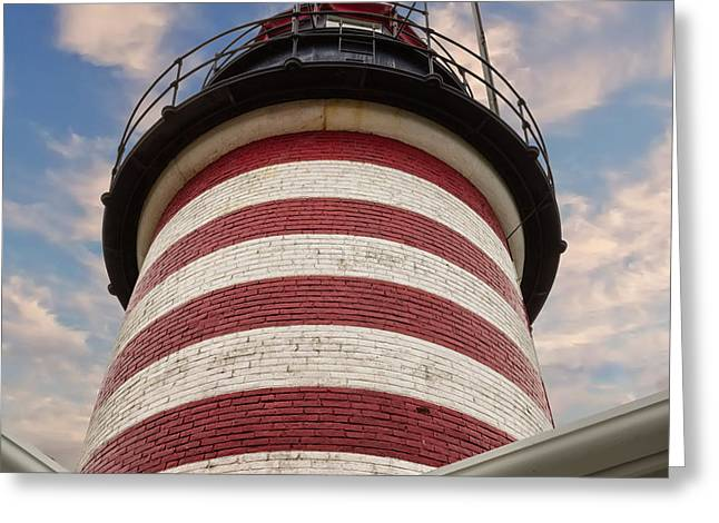 Maine Lighthouses Greeting Cards - West Quoddy Looking Up Greeting Card by Jerry Fornarotto