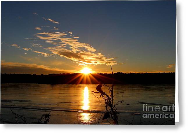 Landscape Photos Greeting Cards - West Thompson Lake Winter Sunset  Greeting Card by Neal  Eslinger