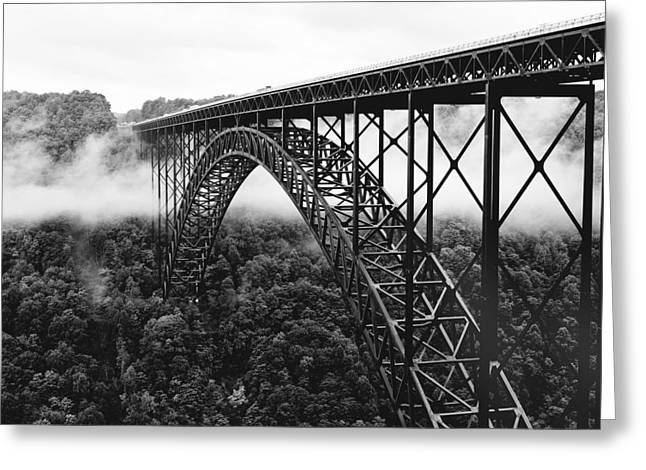 Foggy Landscapes Greeting Cards - West Virginia - New River Gorge Bridge Greeting Card by Brendan Reals