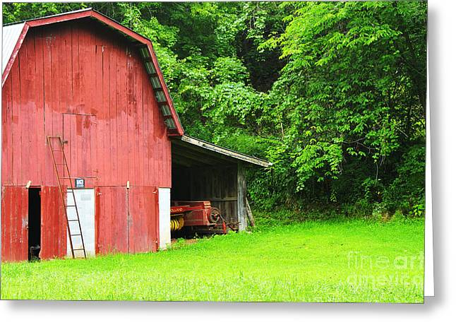West Virginia Barn And Baler Greeting Card by Thomas R Fletcher