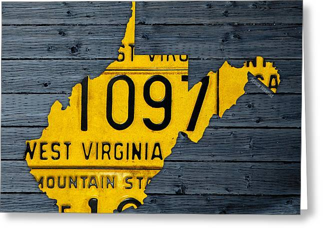 West Virginia Greeting Cards - West Virginia State Recycled Vintage License Plate Map Art Greeting Card by Design Turnpike