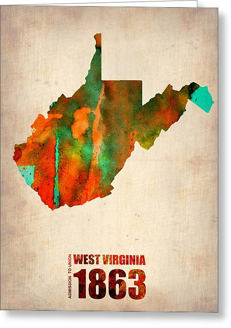 State Map Greeting Cards - West Virginia Watercolor Map Greeting Card by Naxart Studio