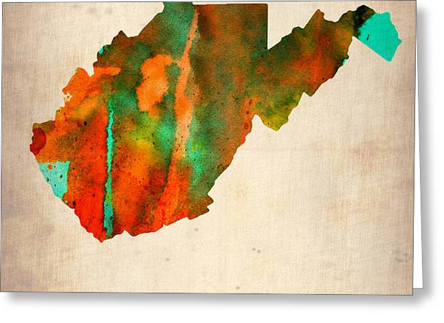 West Virginia Watercolor Map Greeting Card by Naxart Studio
