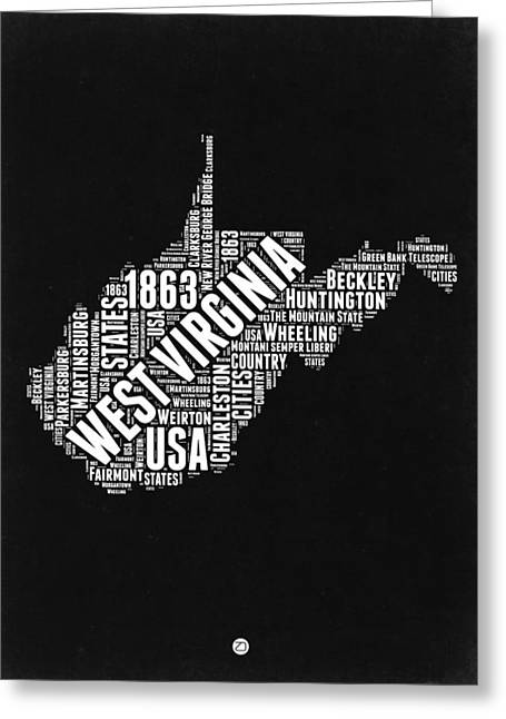 West Virginia Word Cloud Black And White Map Greeting Card by Naxart Studio