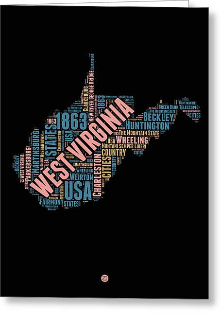 West Virginia Word Cloud Map 1 Greeting Card by Naxart Studio