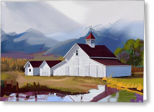 Red Roofed Barn Mixed Media Greeting Cards - Westcliffe Colorado  into the sky Greeting Card by Craig Nelson