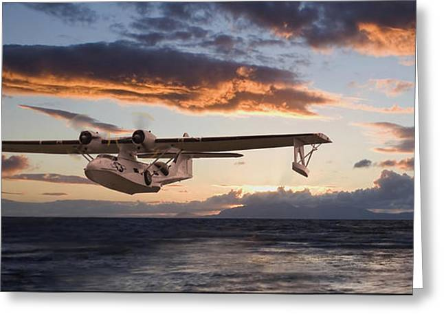Pby Catalina Greeting Cards - Westering Home Greeting Card by Pat Speirs