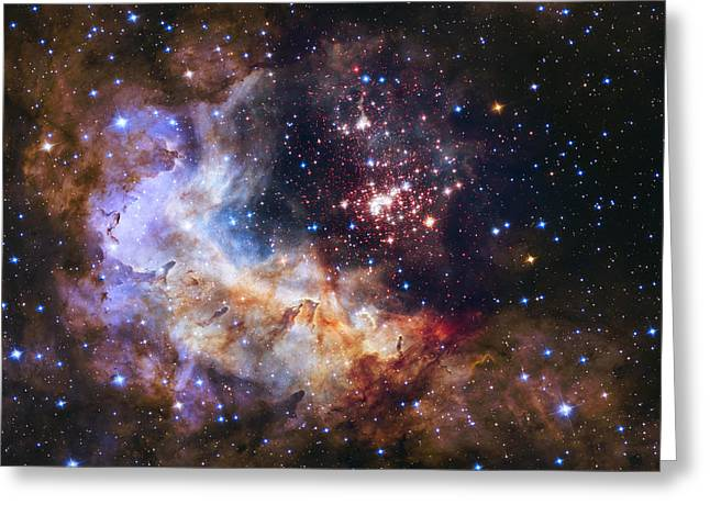 Office Space Greeting Cards - Westerlund 2 - Hubble 25th Anniversary Image Greeting Card by Adam Romanowicz