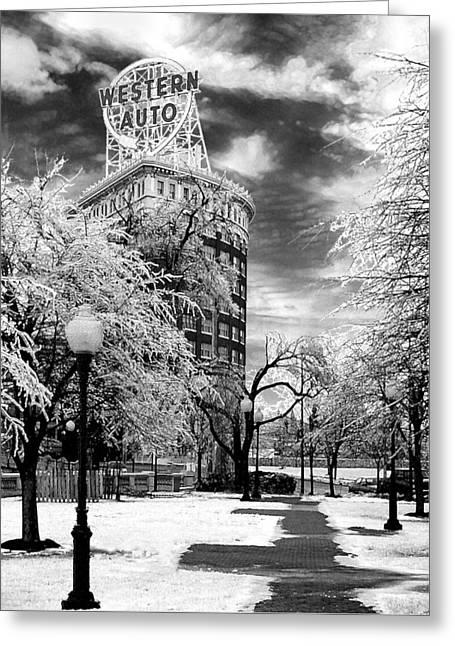 Western Auto In Winter Greeting Card by Steve Karol