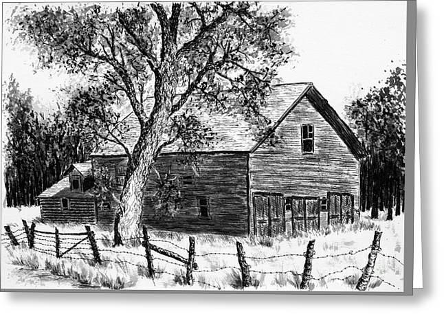 Old Barn Drawing Greeting Cards - Western Barn Greeting Card by Judy Sprague